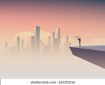 Business vision or visionary concept with businessman standing on a cliff, looking through monocular at corporate skyline cityscape. Eps10 vector illustration.
