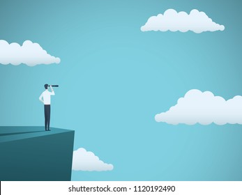 Business vision or visionary vector concept with businessman standing on top of cliff with telescope. Symbol of succes, ambition, leadership. Eps10 vector illustration.