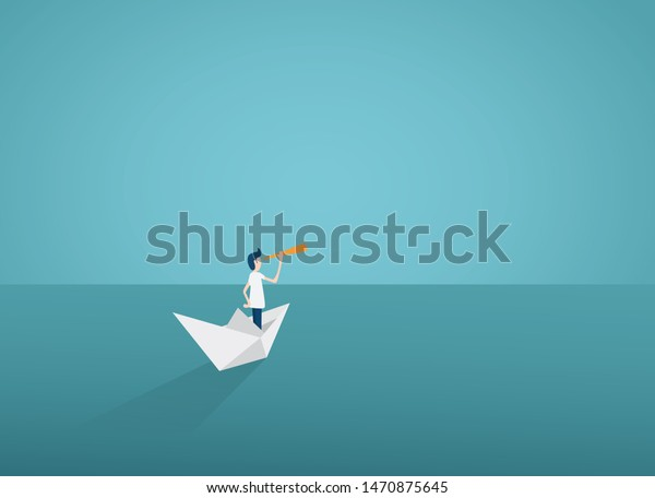 Business vision or visionary vector concept with businesswoman on paper boat with telescope. Symbol of woman leader, success, ambition, leadership, future.