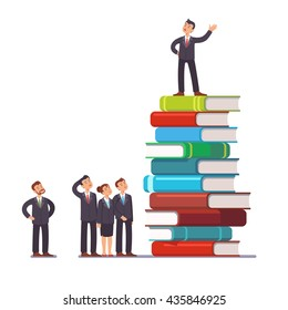 Business visionary leader and mentor speaking to group of businessman people. Standing on top of big heap of books and knowledge. Flat style vector illustration clipart.