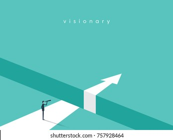 Business visionary vector conept with businessman looking with telescope over gap. Business challenge, future symbol. Eps10 vector illustration.