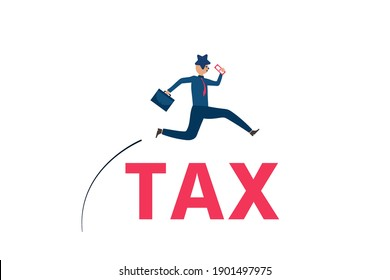 Business vision,Businessman carrying office bags and money are jumping over the tax lettering,Cute character,Pink cheek,rosy cheek,Vector illustration for graphic design,website or banner