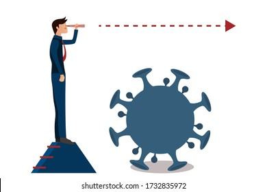 Business vision,What will be The new normal after COVID-19 concept disruption human lifestyle,Businessman holds a telescope and looks foward on a short stairway above the Coronavirus,Cute character