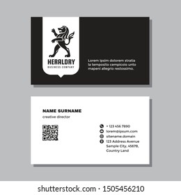 Business visit card template with logo - concept design. Lion heraldry figure silhouette black & white colors branding. Vector illustration.