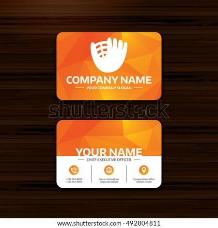 Business Visiting Card Template Baseball Glove Stock Image