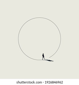 Business walk in circle metaphor vector concept. Symbol of never ending issue, no solution. Eps10 illustration.