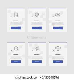 Business web cards template with text and icon. Website and application cards design templates collection. Ui elements