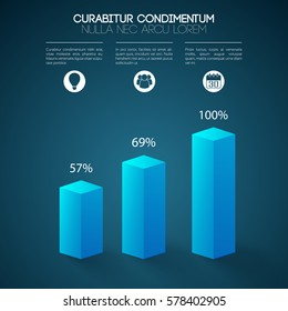 Business web presentation infographics with 3d blue columns three steps icons and percent rates isolated vector illustration