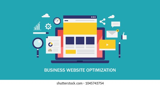 Business website optimization - Homepage - Landing page - SEO flat vector concept with icons