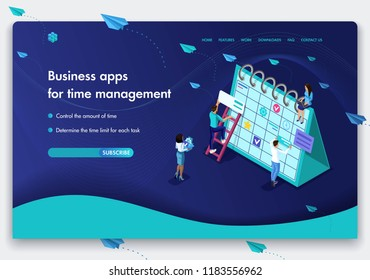 Business website template design. Isometric concept of people's work on Business apps for time management. Easy to edit and customize.