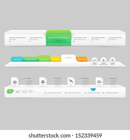 Business Website template infographic design menu navigation elements with icons set