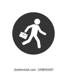 Business white icon vector illustration of a businessman running with briefcase, business, energetic, dynamic concept