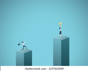 Business winner and loser vector concept with businesswoman celebrating success with a cup and another throwing dart at her. Symbol of victory, sore loser, jealousy and envy. Eps10 vector illustration