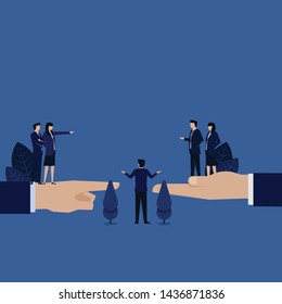 Business woman accuse other and manager reconcile both side metaphor of mediation. Illustration For Wallpaper, Banner, Background, Book Illustration, And Web Landing Page.