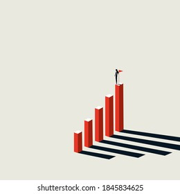 Business woman achievement vector concept. Woman on top of chart. Symbol of ambition, motivation, career success. Eps10 illustration.