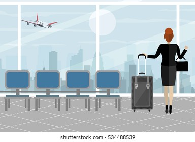Business woman at airport with suitcase, cityscape in background. Travel, vacation, Business trip concept. Vector illustration in flat design.