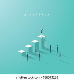 Business woman ambition and leadership vector concept. Businesswoman standing on top of graph as symbol of emancipation, equality, gender, feminism in business. Eps10 vector illustration.