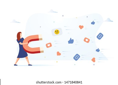 Business woman attracting likes signs with a huge magnet. Social media marketing concept. Modern vector illustration. Social media marketing concept. Blogger get followers, likes and feedback. SMM