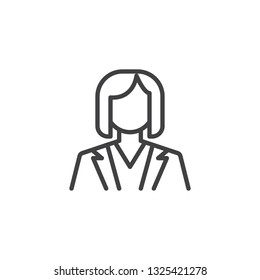 Business woman avatar line icon. linear style sign for mobile concept and web design. Woman in suit outline vector icon. Office dress code symbol, logo illustration. Pixel perfect vector graphics
