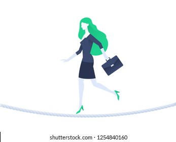 Business woman balancing on rope. Business risk concept. Flat design. Vector illustration