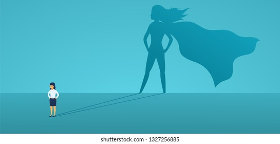 Business woman with big shadow superhero. Super manager leader in business. Concept of success, quality of leadership, trust, emancipation. Vector illustration flat style.