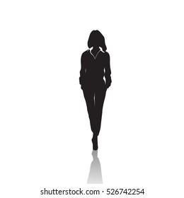 Business Woman Black Silhouette Full Length Over White Background Vector Illustration