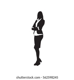 Business Woman Black Silhouette Standing Full Length Over White Background Vector Illustration