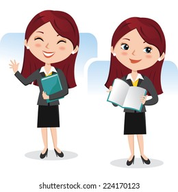 Business woman with book. Presentation.
