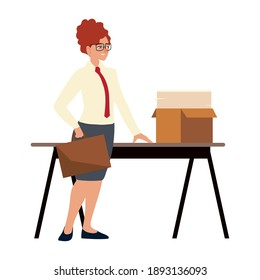 business woman with briefcase papers in box on desk working vector illustration