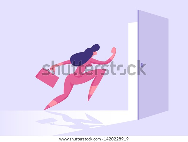 Business Woman with Briefcase Running into Open Door         Entrance or Exit, Businesswoman New Opportunity, Way, Escape,         Success and Career Growth, Right Solution Concept Cartoon Flat         Vector Illustration