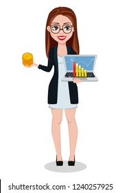 Business woman cartoon character. Beautiful lady businesswoman holds bitcoins and laptop. Freelancer, manager, banker. Vector illustration.