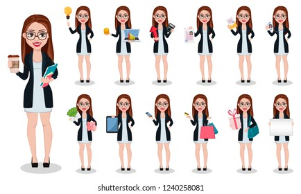 Business woman cartoon character. Beautiful lady businesswoman, set of thirteen poses. Vector illustration.