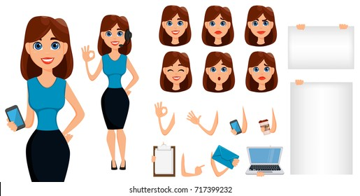Business woman cartoon character creation set. Cute brunette businesswoman in smart casual clothes, blue style. Build your personal design - stock vector