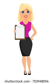 Business woman cartoon character. Cute blonde businesswoman holds blank clipboard. Vector illustration on white background.