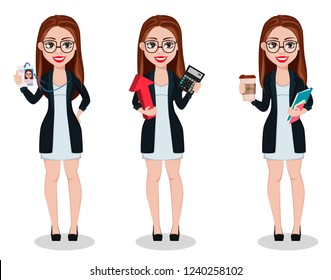 Business woman cartoon character, set of three poses. Beautiful lady businesswoman holds badge, holds calculator and holds coffee. Freelancer, manager, banker. Vector illustration