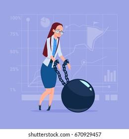 Business Woman Chain Bound Hands Credit Debt Finance Crisis Concept Flat Vector Illustration
