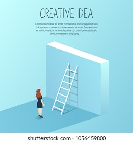 Business woman challenge concept with big wall and ladder. Business woman standing in front, symbol for career growth, finding creative solution. Vector illustration.