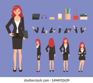 Business woman character constructor and office objects for create animation. Set of various woman's poses arms and hands.