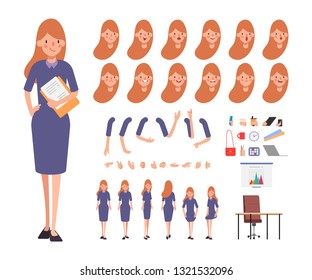 Business woman character creation for animation. Ready for animated face emotion and mouth. Office tutorial.