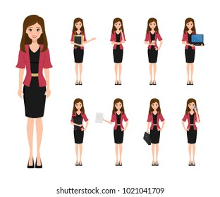 Business woman character creation in office style. Business job function. Illustration vector of avatar people design.