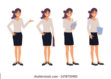 Business woman character different pose.