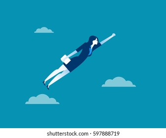 Business woman character flying through sky. Concept business illustration. Vector flat for website