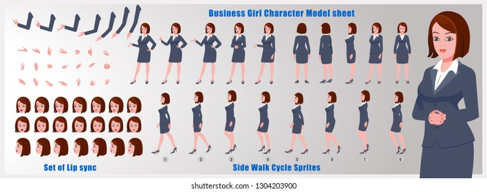Business woman Character Model sheet with walk cycle animation. People character design. Front, side, back view animated character. character creation set with various views, face emotions,poses.