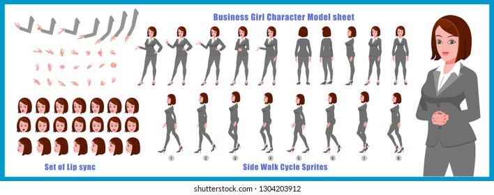 Business woman Character Model sheet with walk cycle animation People character design. Front, side, back view animated character. character creation set with various views, face emotions,poses.