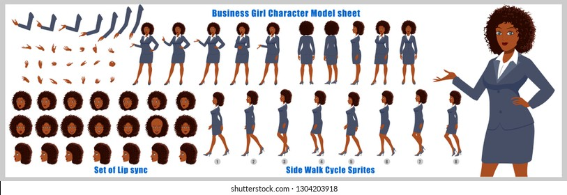 Business woman Character Model sheet with walk cycle animation. character design. Front, side, back view animated character. character creation set with various views, face emotions,poses and gestures