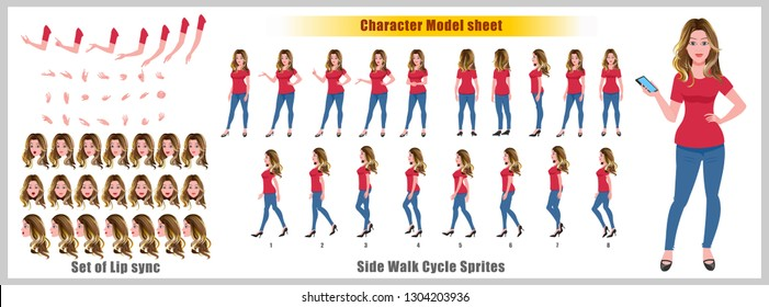Business woman Character Model sheet with walk cycle animation sprites and lip syncing