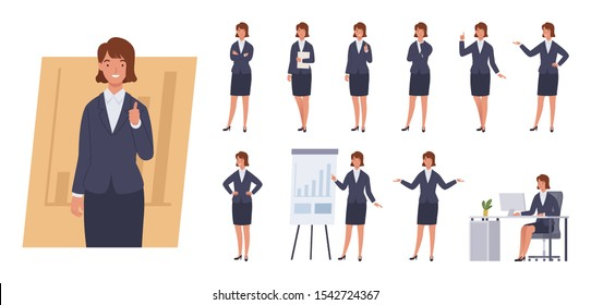 Business woman character set. Different poses and emotions. Vector illustration in a flat style
