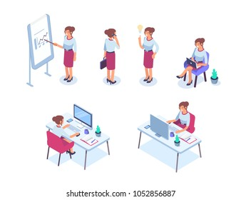 Business woman character set. Flat isometric vector illustration isolated on white background.