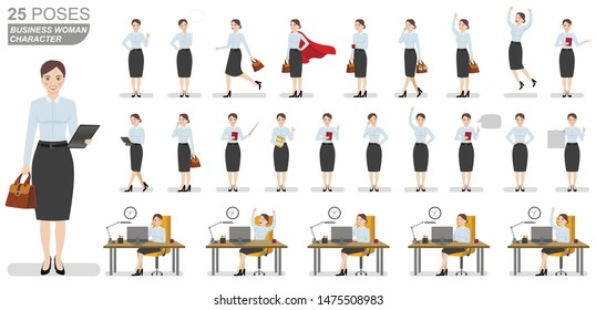 Business woman character set. Flat illustrations of business woman character in various poses.