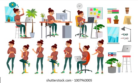 Business Woman Character Set Vector. Working People Set. Office, Creative Studio. Female Business Situation. Girl  Programmer, Designer, Manager. Poses, Emotions. Cartoon Character Illustration
